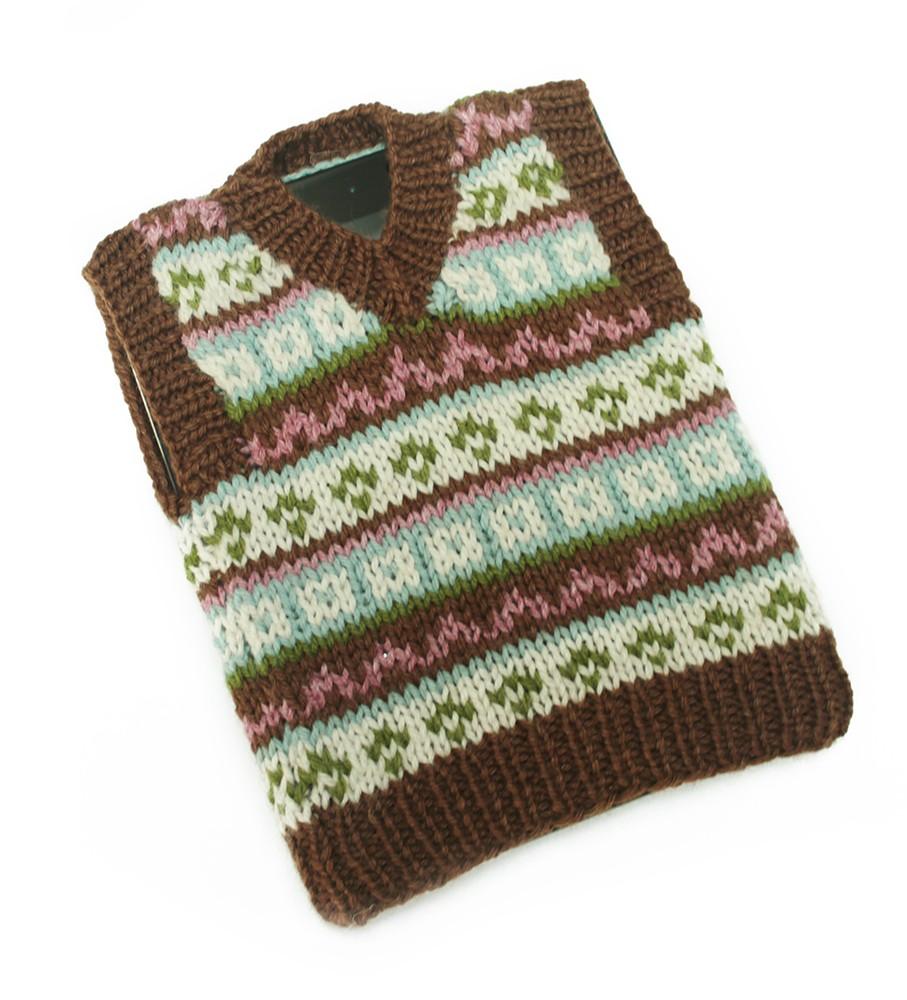 Knit Pattern Tablet iPad Fair Isle Tech Vest L20352 a 1